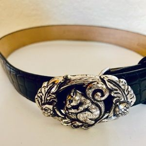 Black Talbots Belt with Silver Squirrel Buckle